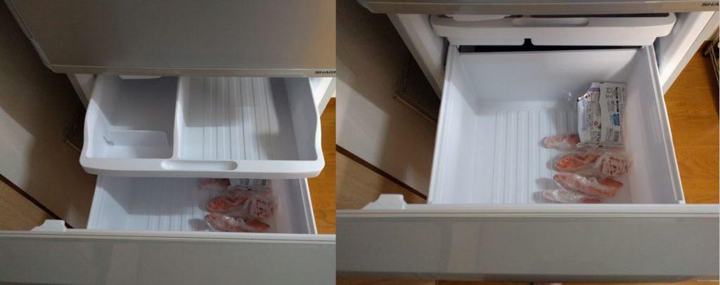 シャープ冷蔵庫SJ-W351Eの冷凍庫は2段